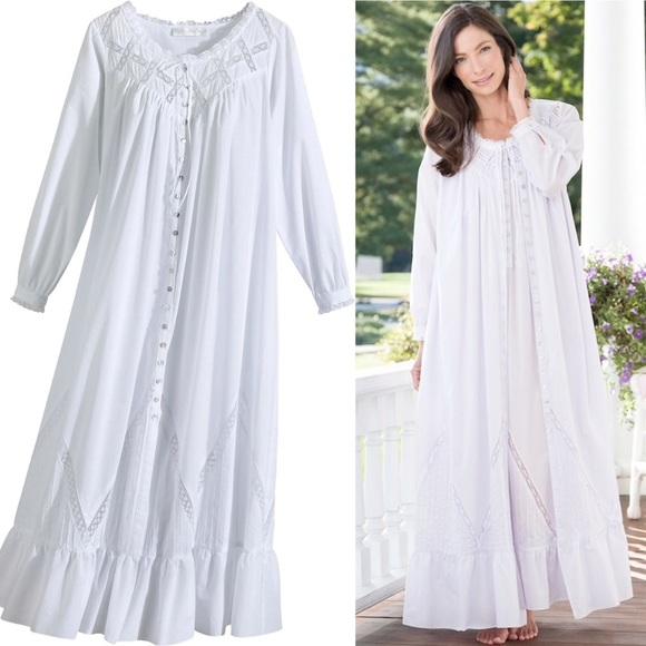 f32ca101 Eileen West Moonlight Sonata Cotton Robe Gown S